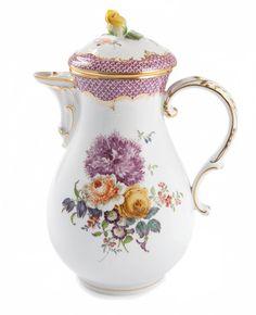 """Coffeepot, Shape """"Neuer Ausschnitt"""", Bouquet, early style, mosaic, purple, gold border, gold rim, V 1,20 l"""