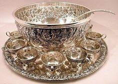 Kirk & Son sterling silver punch set - bowl, tray, 12 cups, and ladle.