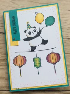 Party pandas, stampin' blends, Color me happy