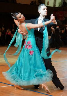 Blue Ballroom Dress w/ Pink Flowers - For Sale Selavidance.com