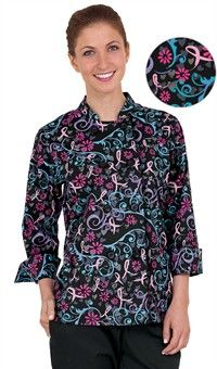Style # 83651PIS: Chaqueta de Chef Pink Spin Black con Doble Botonadura para Mujer - Botones Plásticos - 55/45 Algodón/Poliéster