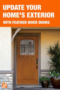 Add instant curb appeal to your home with these hand-stained fiberglass exterior Cottage Collection doors from Feather River. These beautiful doors feature a craftsman arch, a honey finish, and a flush-glazed lite frame with a dentil shelf. Click to shop these energy-efficient fiberglass entry doors that are exclusive to The Home Depot.