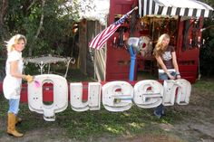a QUEEN sign from an old DAIRY QUEEN! {junk gypsy co}