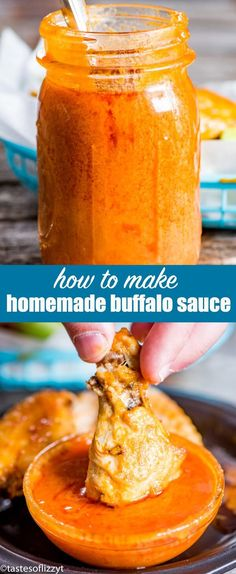 The best homemade buffalo sauce recipe. Made just as you like it with the right amount of spice. Perfect for buffalo wings, pulled pork, burgers and chicken fingers. #buffalo #wings #chickenwings #buffalosauce #gameday via @tastesoflizzyt