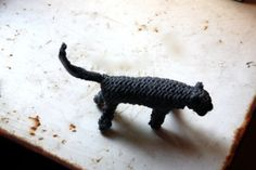 Knitted cat charcoal grey by tintabernacle on Etsy, $25.00