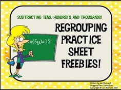Are you tired of the same old regrouping practice sheets? Put a little fun into your students' practice with these three practice sheet freebies. There is one regrouping subtraction sheet each for tens, hundreds and thousands. Each sheet has a grading key.