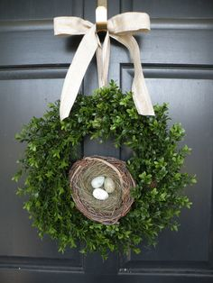 All Season Boxwood Wreath with Robin's Egg Nest by Daulhouseshop