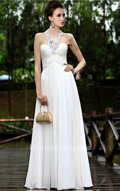 #Valentines #AdoreWe #Dorris Wedding - #Dorris Wedding White Elegant Sheath Floor-length Halter Dress - AdoreWe.com