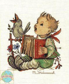 Cross Stitch Kit ~ JCA Genuine Hummel Let's Sing Boy & Bird #04664