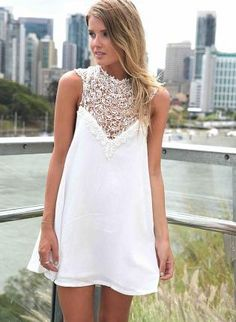 White Sleeveless Dress with High Lace Neckline,  Dress, lace dress  sleeveless, Chic