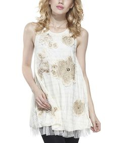 Take a look at the Beige Floral Embellished Layered Tunic on #zulily today!