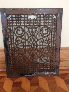 Details About Pair Of Antique Large Cast Iron Grates