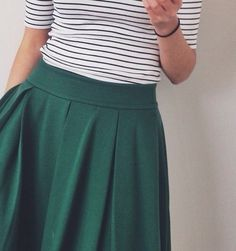 Green & Stripes | Sister Missionary - Check out the Box Pleated skirt in Forest green at Sorella Bella combined with the Fancy Free top.