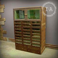 Vintage Industrial Glass Front 28 Drawer Display Cabinet Grand Rapids Showcase  | eBay