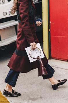 Burgundy coat & loafers | NYFW