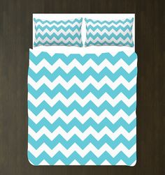 Aqua and White Chevron Duvet Bedding Set-Custom - ANY COLORS You Want-Twin, Full/Queen, King-Girls Room-Teens-Women on Etsy, $162.68 AUD