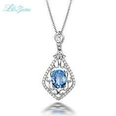 l&zuan S925 Silver 2.26ct Circle Natural Blue Topaz Stone Pendant 18 Inches  Jewelry Christmas gift Send a S925 Silver Necklace #Affiliate