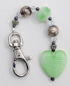 Hand Made Beaded Key Chain, green heart, clip, silver | Susanknits - Accessories on ArtFire