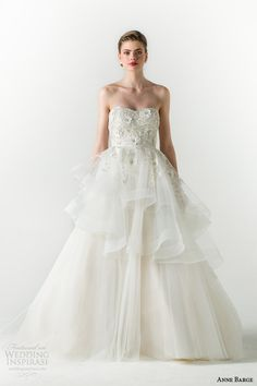 http://www.weddinginspirasi.com/2014/08/22/anne-barge-spring-2015-wedding-dresses/ Anne Barge spring 2015 #bridal collection: Charmed strapless ball gown #wedding dress tiered skirt #weddingGown #weddingDress