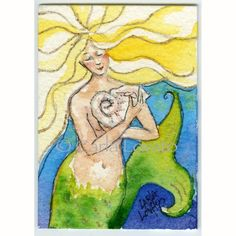 Mermaid Painting Watercolor Sea Goddess - ACEO Giclee Print with hand painted elements