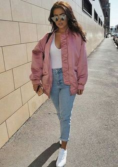 Pink oversize bomber for trendy lookbook