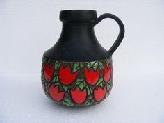Alvino Bagni vase with Tulipani Rossi decor. by RetroVases on Etsy