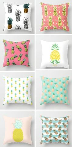 Pineapples are trendy in the interior design world. Check out these pineapple pillows to add summer fun to your decor! My New Room, My Room, Girl Room, Cute Pillows, Throw Pillows, Diy Room Decor, Bedroom Decor, Home Decor, Bedroom Ideas