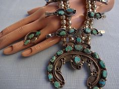 Vintage NAVAJO Sterling Silver & TURQUOISE Squash Blossom Necklace and Ring SET