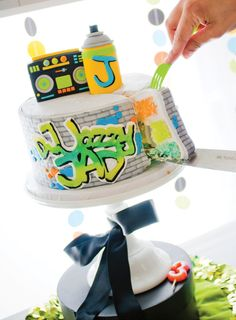 INCREDIBLE Fresh Prince of Bel Air inspired Hip Hop Party with a graffiti cake, cassette tape garlands, microphone cake pops & more! Prince Party Theme, Prince Birthday Party, 2nd Birthday Parties, Birthday Ideas, Happy Birthday, 1st Birthdays, Prince Cake, 21st Cake, Hip Hop Party