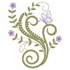 Wind Bell Embroidery Embroidery Design Pack: Swirly Flowers