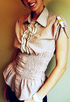 I wonder what it is about men's shirts that inspires such creativity in women? Whatever the reasons there are amasing tutorials on how to refashion men's shirts. Skirts, dresses, tops, …