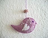 Bird Ornament Wisteria Felt Wall or Tree Hanging with Flower Sequins and Lampwork Glass Bead Hand Embroidered Handsewn