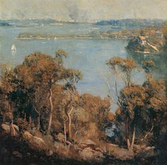 Sydney Harbour, 1907 by Arthur Streeton. Australian Painting, Australian Artists, Melbourne, Sydney, Australia Landscape, Virtual Art, Art Academy, Landscape Paintings, Oil Paintings