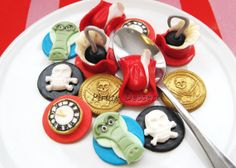 Edible CAPTAIN HOOK Cupcake toppers  Fondant cake by PirateDessert, $32.00