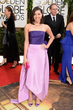 Golden Globes Red Carpet 2014 Aubrey Plaza in Oscar De La Renta.  The contrast in color is lovely.  I would have chosen a different color for the clutch.