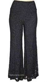 Lace pants! So cute for work or going out! Verducci Clothing Charlotte Lace Palazzo Pant In Black