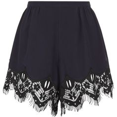 Chloé Lace Trim Crepe Shorts (£625) ❤ liked on Polyvore featuring shorts, tailored shorts, pleated shorts, lace trim shorts and chloe shorts