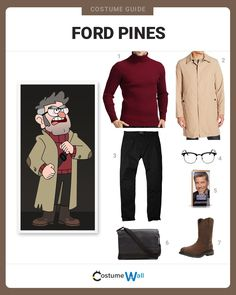 The best cosplay guide for dressing like Ford Pines, the twin brother of Grunkle Stan who disappeared in the Disney show Gravity Falls.