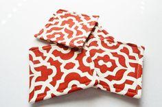 Set of 4 Handmade Fabric Coasters Red and by GretasHandmadeGifts
