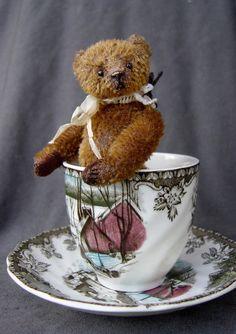 Ambrose, Tea Cup Miniature Mohair Artist Bear by Aerlinn Bears