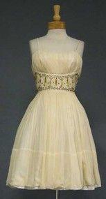 FABULOUS Cream Chiffon Cocktail Dress w/ Beaded Waist