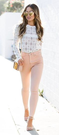 cool outfit idea: top + bag + skinnies
