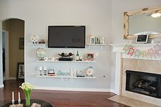 Mount TV with shelving underneath Living Room and living room Living Room Wall Designs, Home Living Room, Living Room Decor, Shelves Under Tv, Family Room Decorating, Living Room Inspiration, Decoration, Home Buying, Home Projects