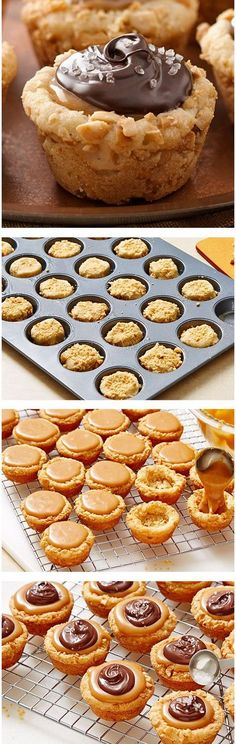 Bake-Off Contest Finalist: Salted Caramel-Cashew Cookie Tarts by Natalie Morales from Oakley, CA (nutella muffins cookie cups) Cookie Desserts, Just Desserts, Cookie Recipes, Delicious Desserts, Dessert Recipes, Yummy Food, Holiday Baking, Christmas Baking, Christmas Sweets