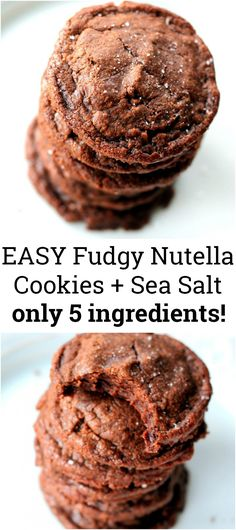 Easy, fudgy 5-ingredient Nutella Cookies with Sea Salt