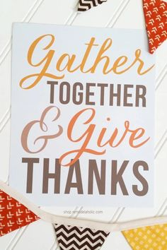 Gather Together and Give Thanks | Thanksgiving Printable via shop.remodelaholic.com #givethanks #thanksgivingdecor Traditional Thanksgiving Dinner, Thanksgiving Dinner Recipes, Thanksgiving Art, Thanksgiving Tablescapes, Thanksgiving Decorations, Free Printables For Home, Give Thanks, Thankful, Thanksgiving Door Decorations
