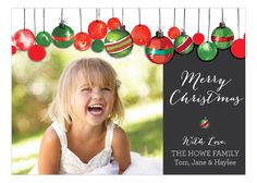 Watercolor Ornaments Christmas Photo Card