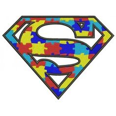 Autism Awareness Superman Filled Machine Embroidery Design Digitized Pattern