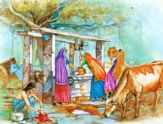 Drawing Woman - Village Well (Reprint on Paper - Unframed) Village Scene Drawing, Art Village, Indian Village, Farm Paintings, Indian Art Paintings, Indian Women Painting, Indian Art Gallery, Architecture Drawing Sketchbooks, Composition Painting
