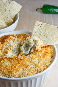Jalapeno popper dip-- This is SO good! Always a hit at any party.  (Easy to make low-carb by leaving off the panko topping.) Typically eaten with tortilla chips, it is also good as a veggie dip, steak or burger topping, etc. It would make a delicious omelet filling, too.